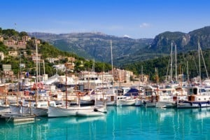 Port de Soller view with tramontana mountain in Mallorca