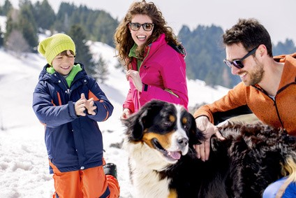 family with dog having fun in the snow