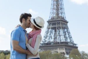 Couple visiting Paris