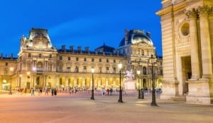 Paris, Louvre Square at night