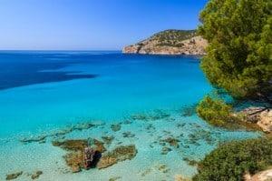 View of beautiful beach in Camp de Mar, Majorca island, Spain