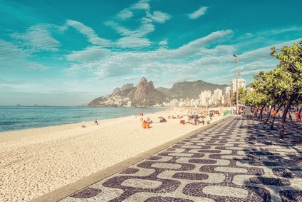 Mosaic sidewalk on Ipanema Beach in Rio De Janeiro, Brazil. Vintage colors